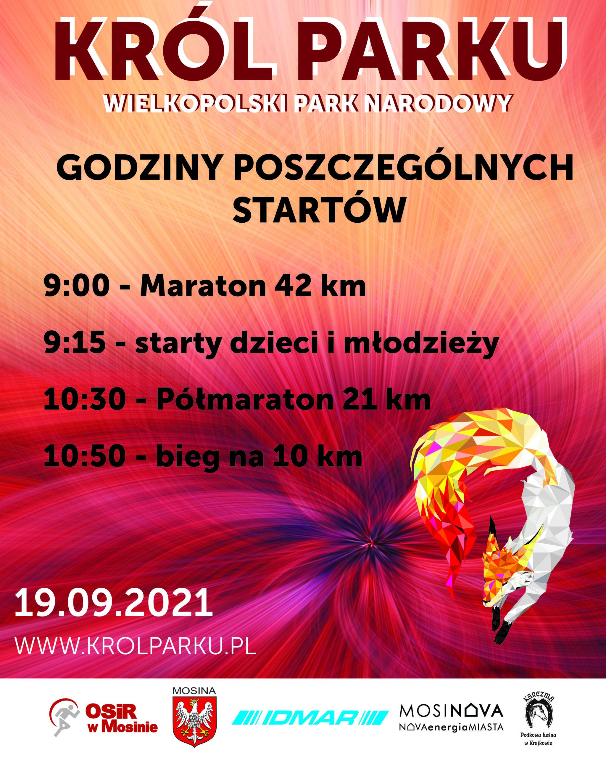 godziny poszczególnych startów na bieg Król Parku w dniu 19 wrzesnia 2021 roku